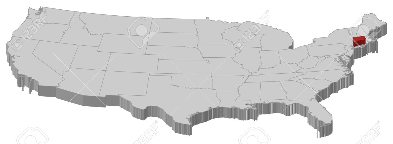 political map of united states with the several states where connecticut is highlighted stock vector