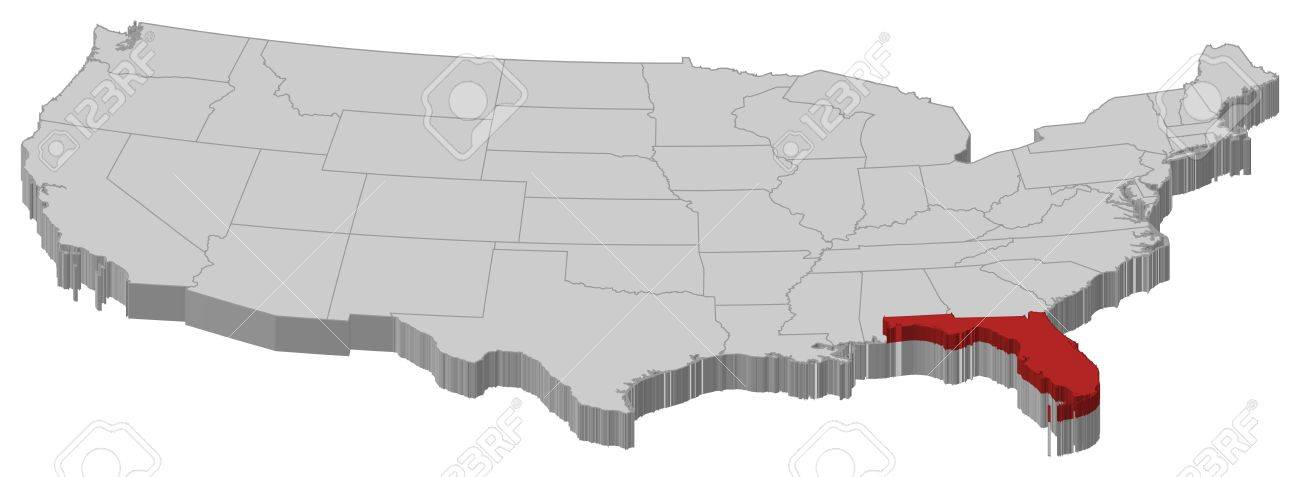 Political Map Of United States With The Several States Where - Us map with florida highlighted