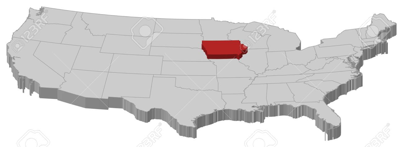 Where Is Iowa On The United States Map.Political Map Of United States With The Several States Where