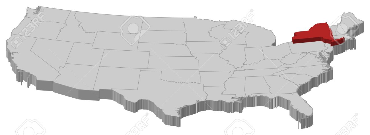 Political Map Of United States With The Several States Where - Us map with new york
