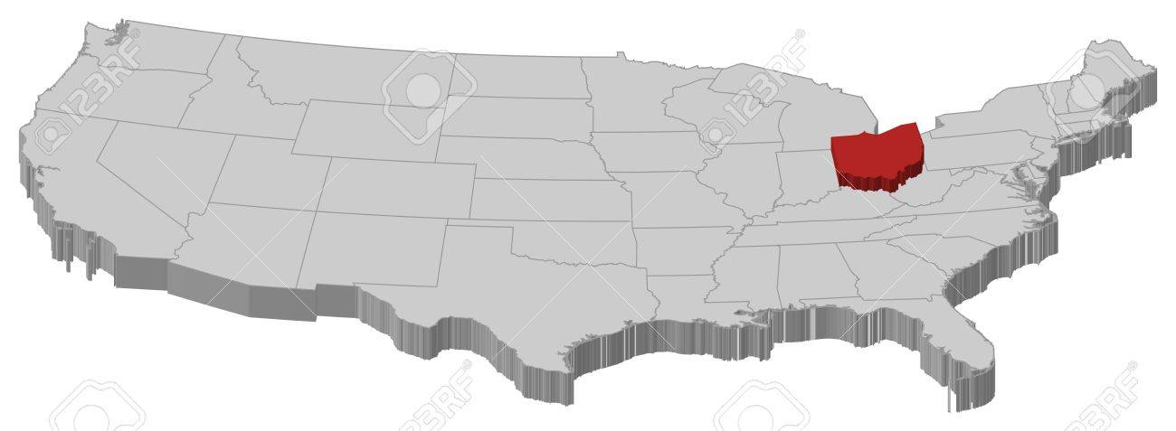 Political Map Of United States With The Several States Where - Map of ohio us