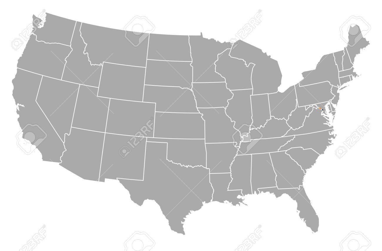 Political map of United States with the several states where..