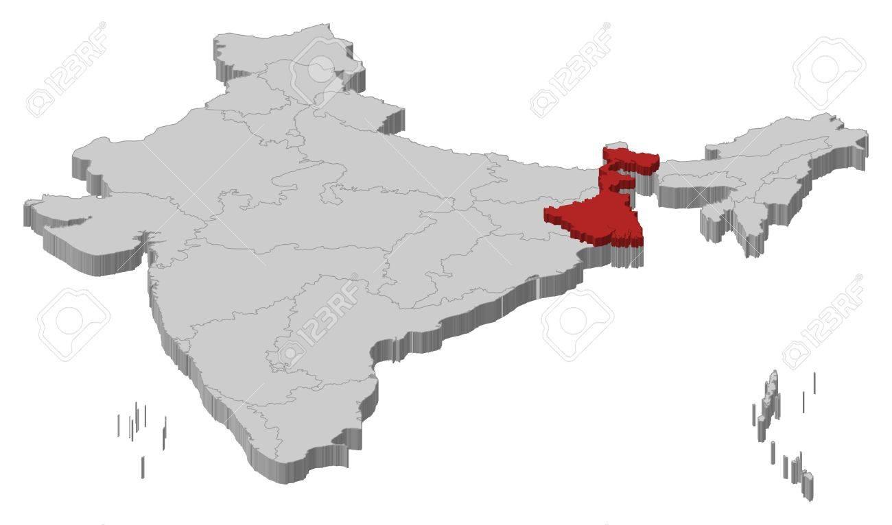 India Politica Cartina.Vettoriale Mappa Politica Di India Con I Diversi Stati In Cui E Evidenziato West Bengal Image 11256457