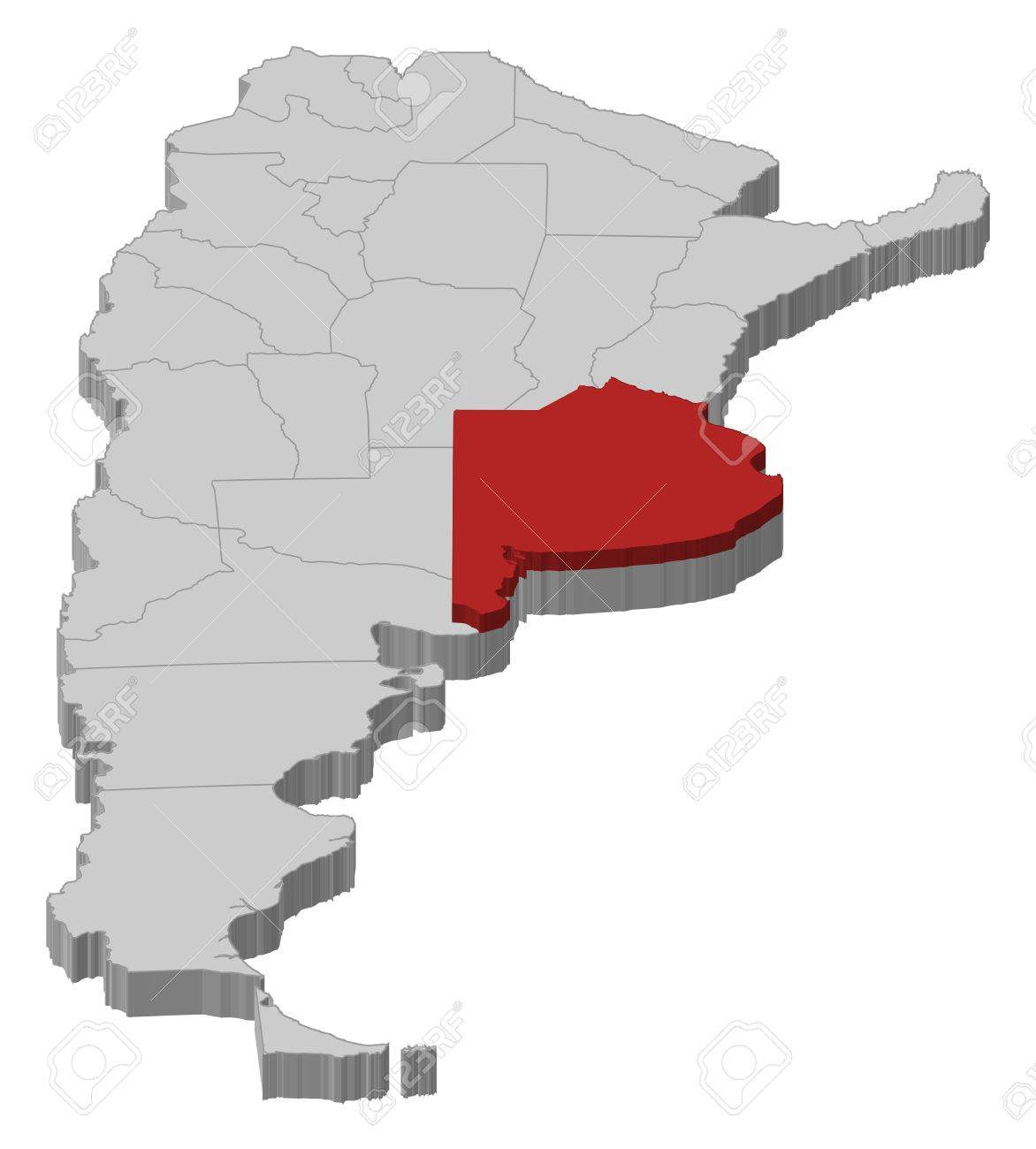 Political map of Argentina with the several provinces where Buenos Aires is highlighted. Stock Vector - 11346000