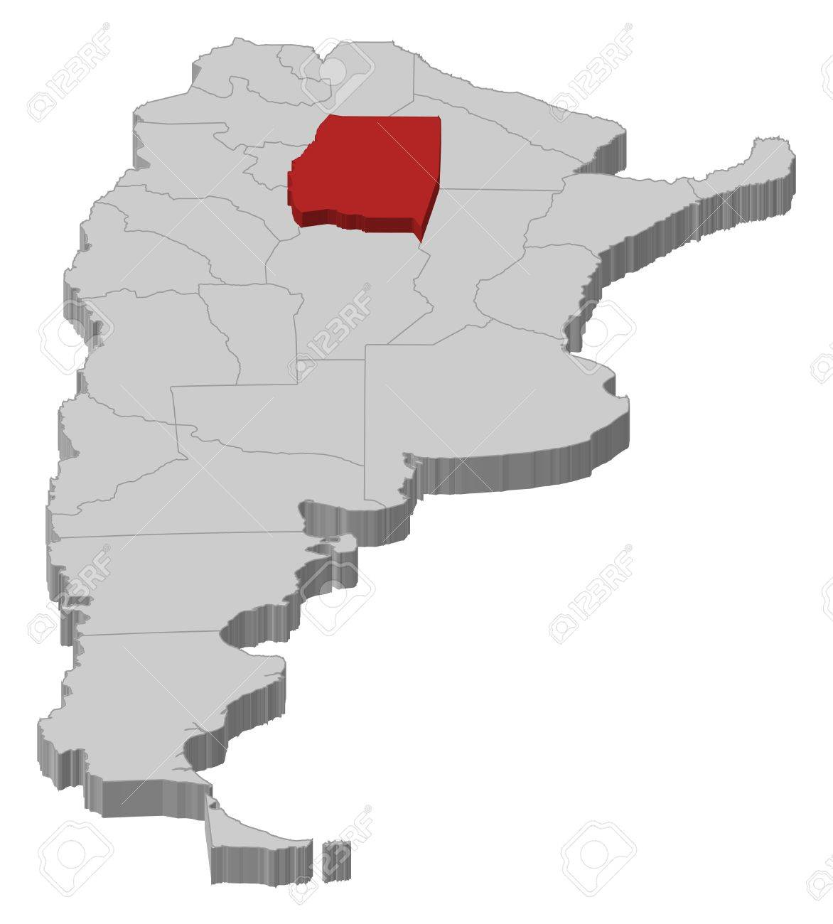 Political Map Of Argentina With The Several Provinces Where Santiago
