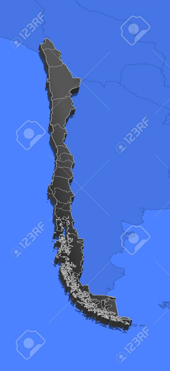 Political Map Of Chile With The Several Regions Royalty Free