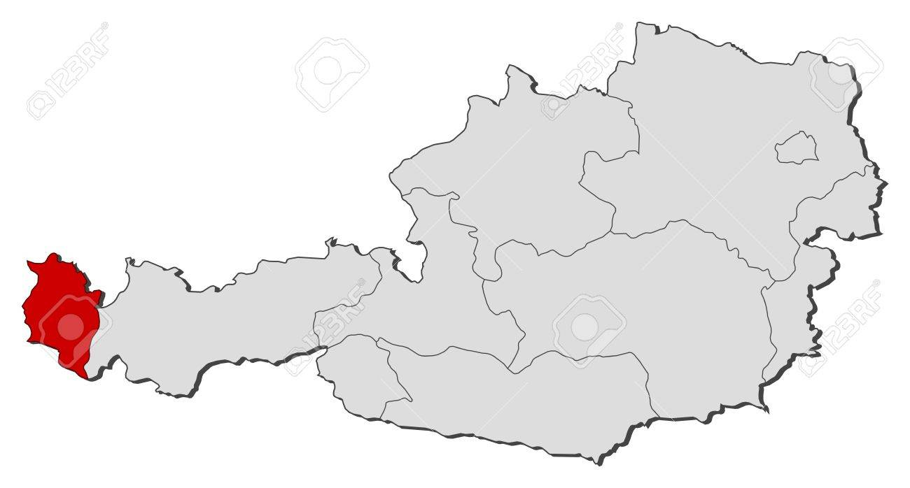 Political Map Of Austria With The Several States Where Vorarlberg - Political map of austria