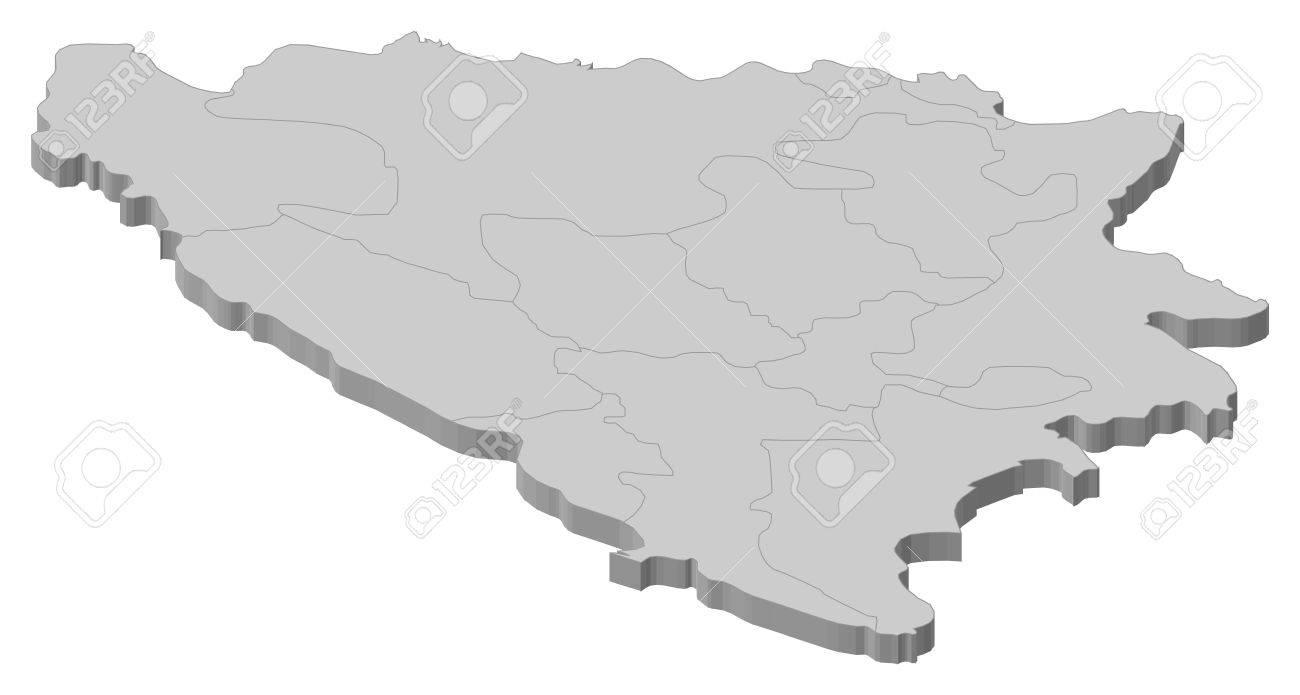 Political map of Bosnia and Herzegovina with the several cantons.
