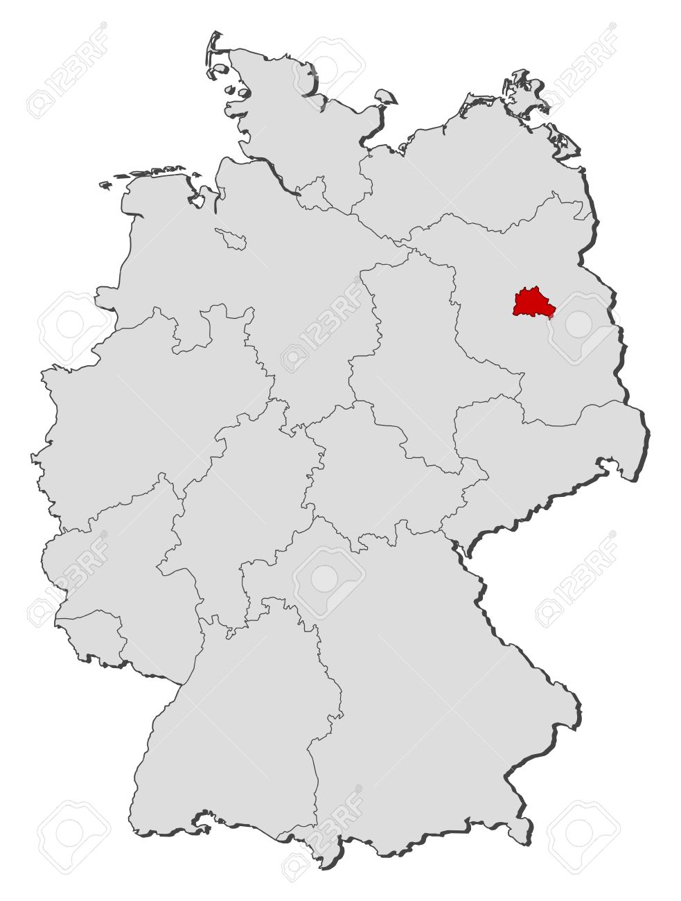 Berlin On Map Of Germany.Political Map Of Germany With The Several States Where Berlin