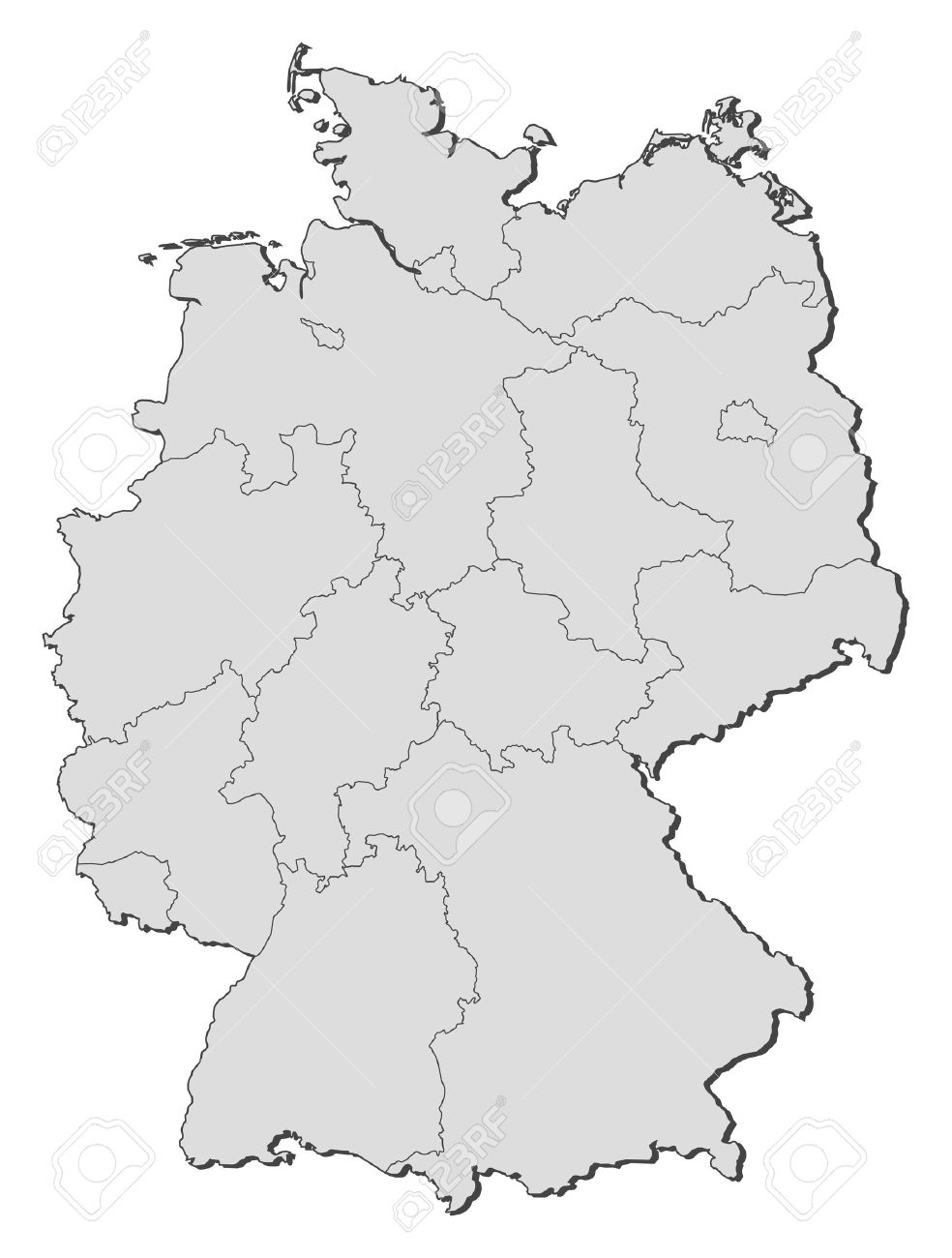 Political Map Of Germany With The Several States Royalty Free - Germany map outline