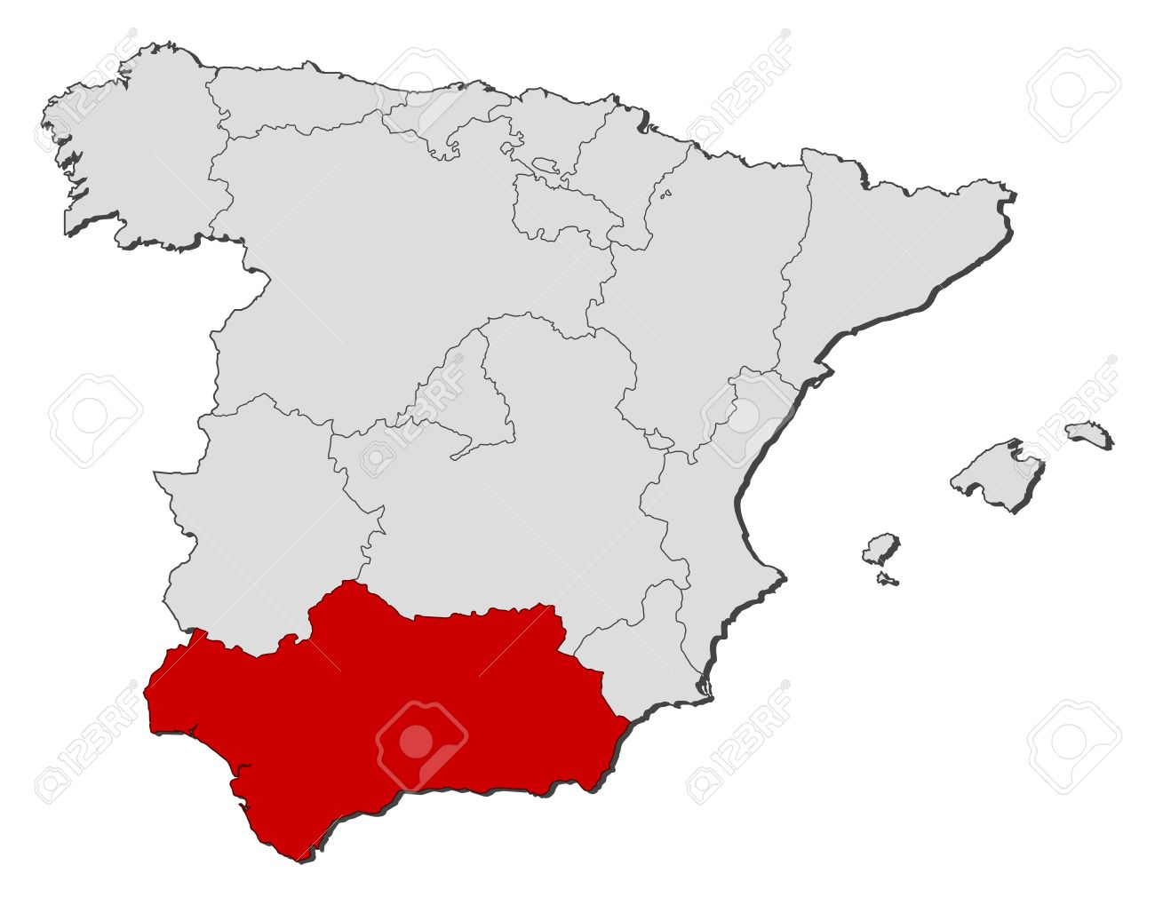 Political Map Of Spain With The Several Regions Where Andalusia - Map of andalusia