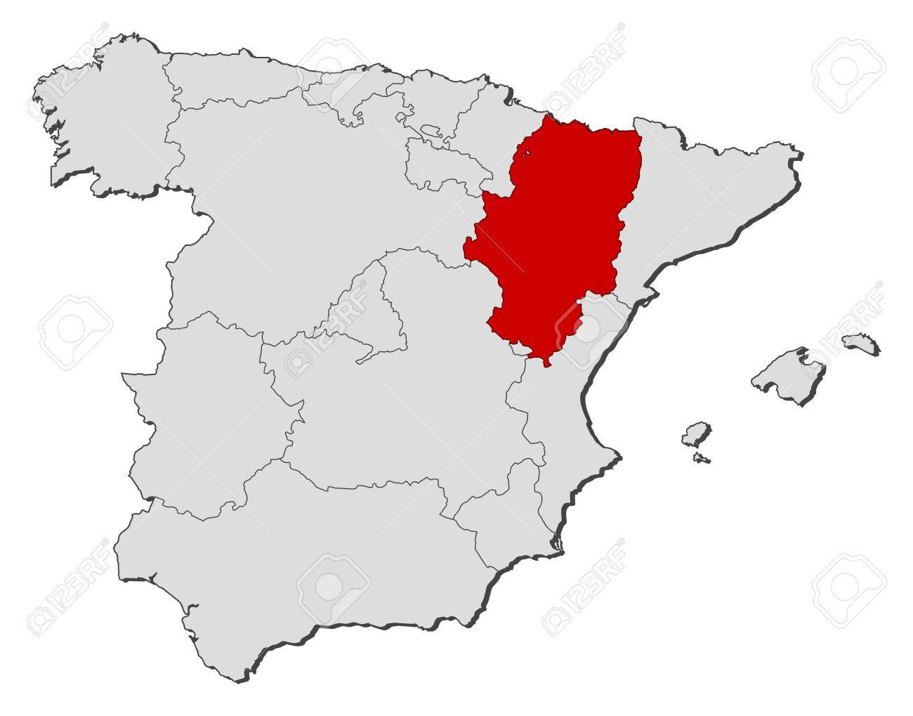 Political Map Of Spain With The Several Regions Where Aragon - Spain regions map