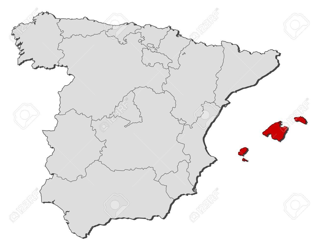 Mapa Politico De Espana Con Las Diversas Regiones Donde Las Islas Baleares Se Destacan