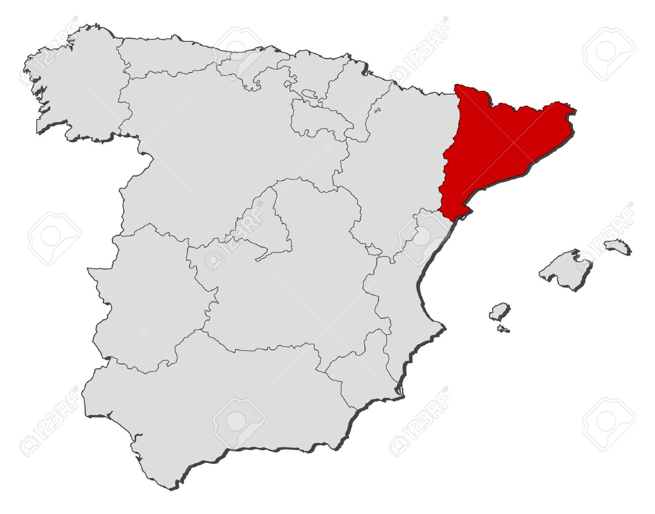 Map Of Spain With Catalonia Highlighted.Political Map Of Spain With The Several Regions Where Catalonia