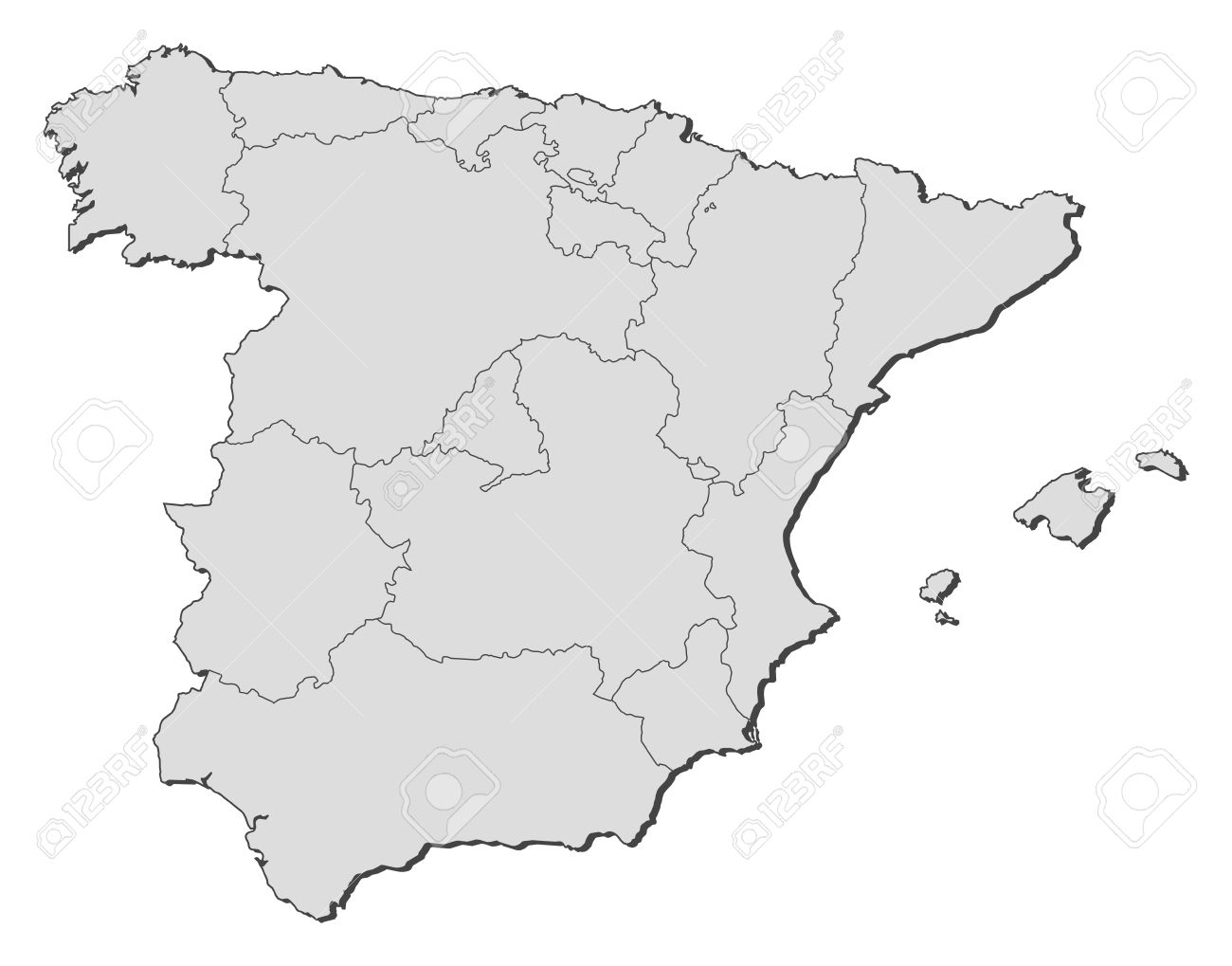 Political map of Spain with the several regions. Stock Vector - 11346101