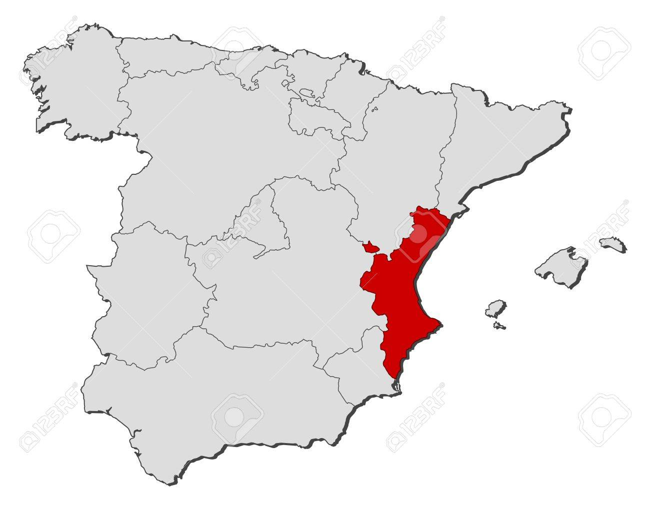 Political Map Of Spain With The Several Regions Where The - Spain political map
