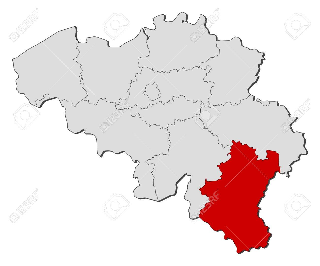 political map of belgium with the several states where luxembourg is highlighted stock vector