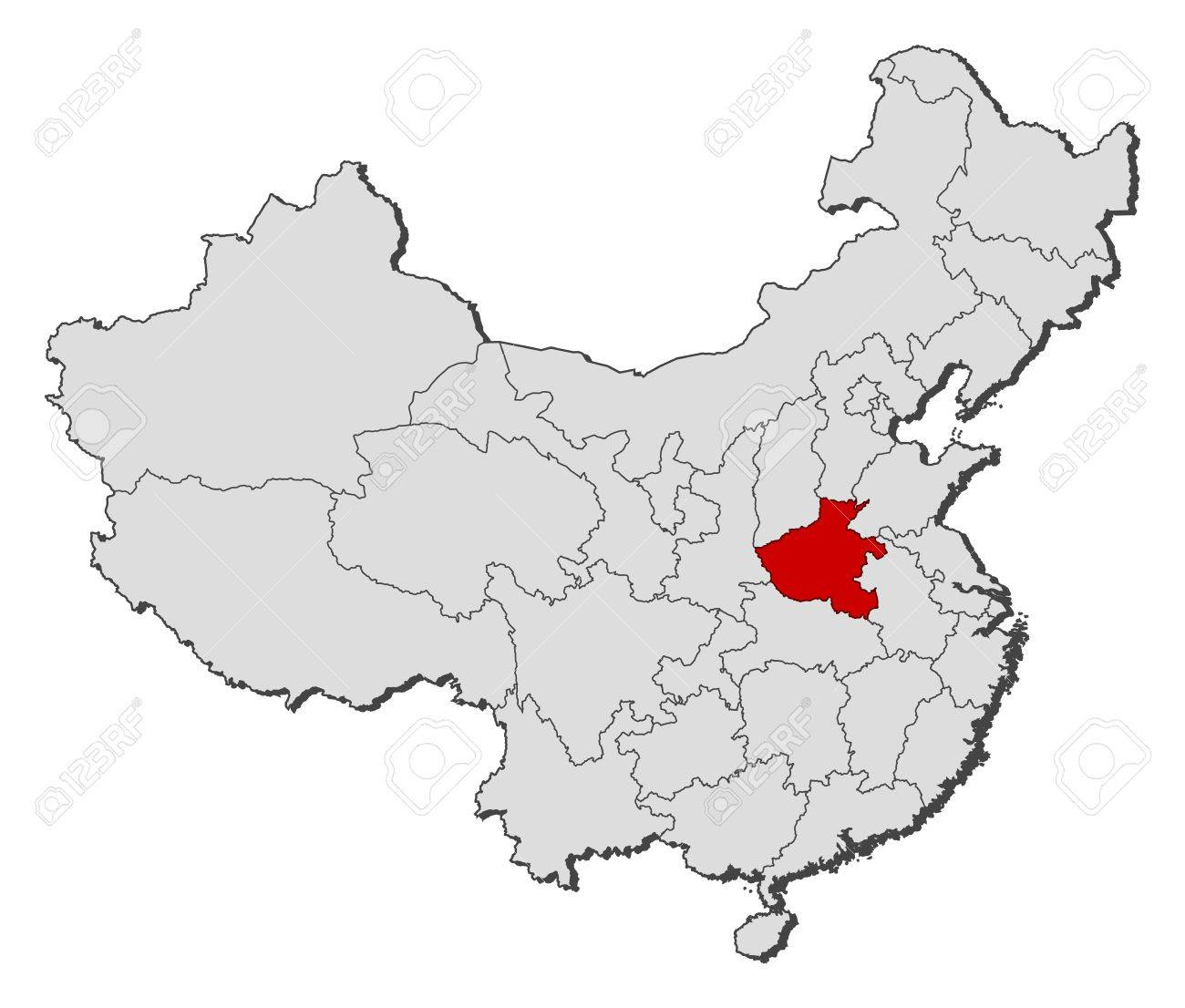 Political Map Of China With The Several Provinces Where Henan