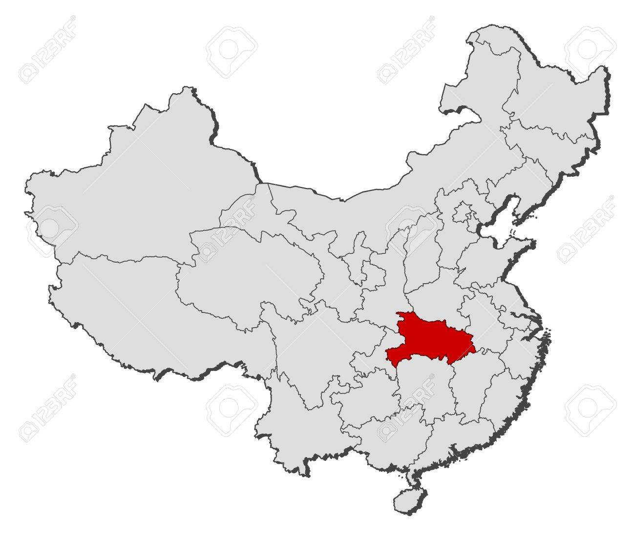 Political map of China with the several provinces where Hubei is highlighted. Stock Vector - 11346420