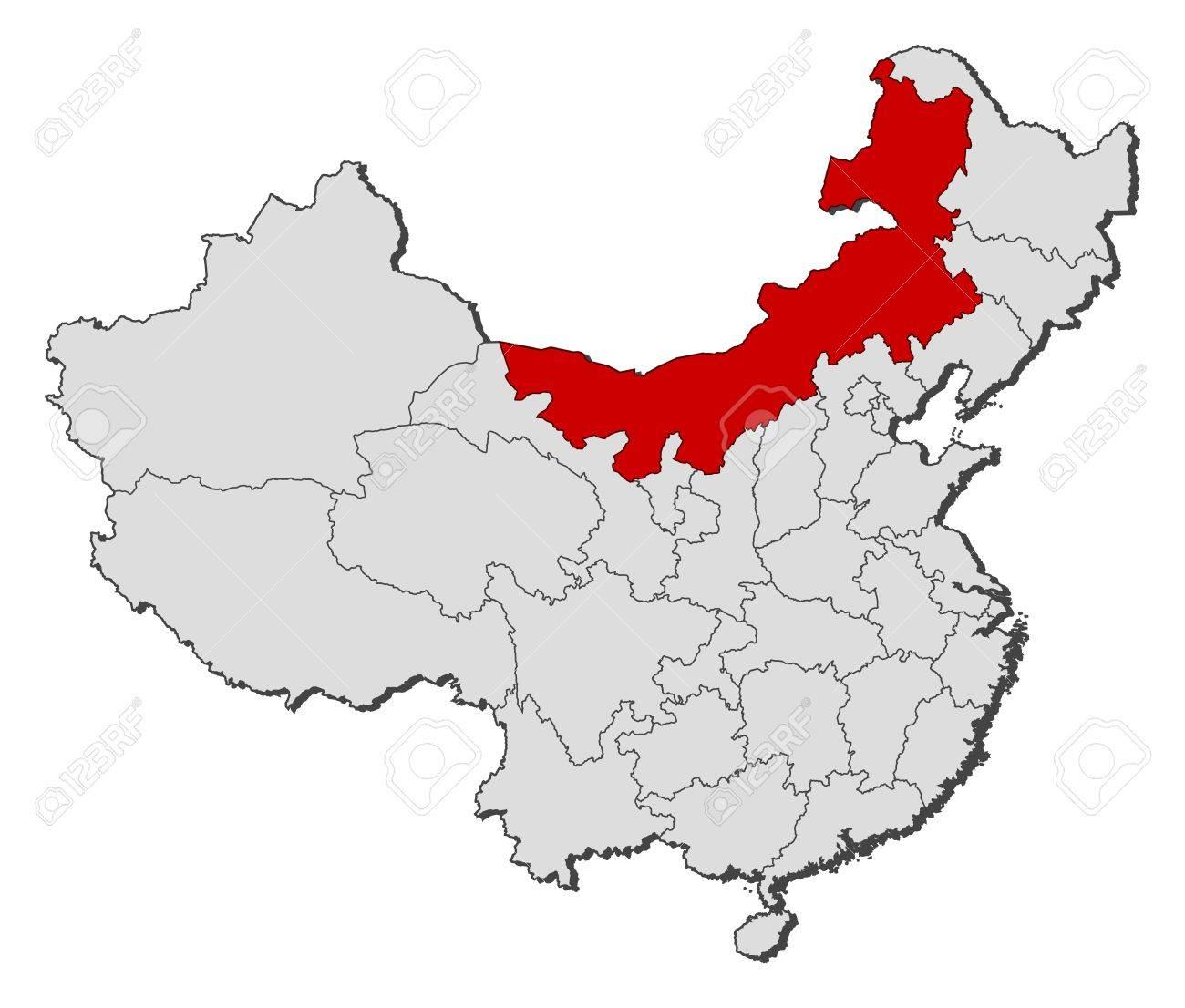 Carte Chine Mongolie.Carte Politique De La Chine Avec Les Differentes Provinces Ou La Mongolie Interieure Est En Surbrillance