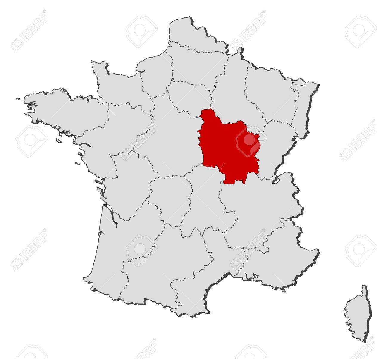 Outline Political Map Of France.Political Map Of France With The Several Regions Where Burgundy