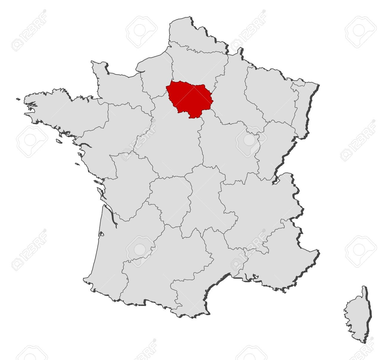 Political Map Of France With The Several Regions Where Ile De France