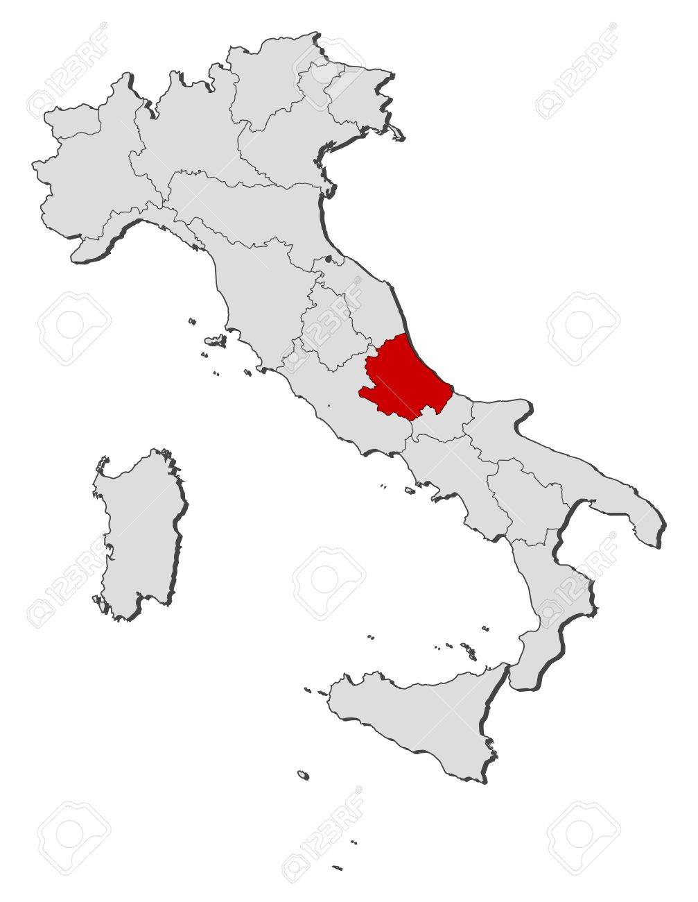 Map Of Italy Abruzzo Region.Political Map Of Italy With The Several Regions Where Abruzzo