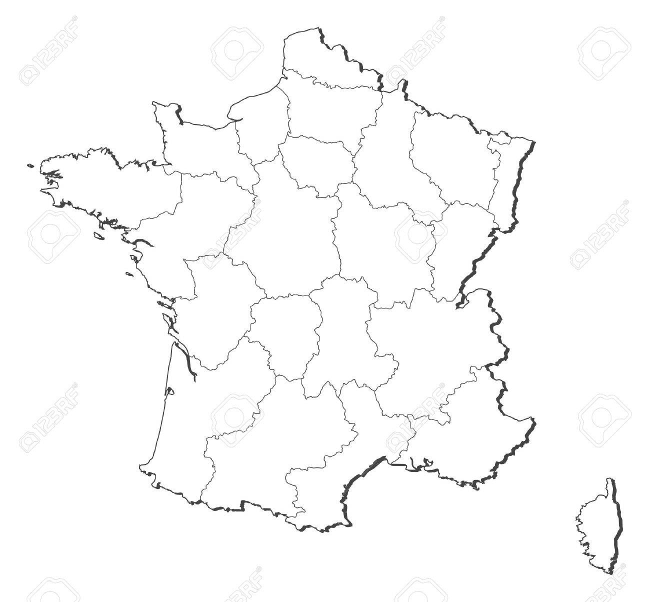 political map of france with the several regions royalty free