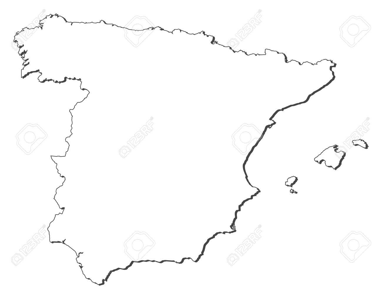 Map Of Spain Drawing.Political Map Of Spain With The Several Regions