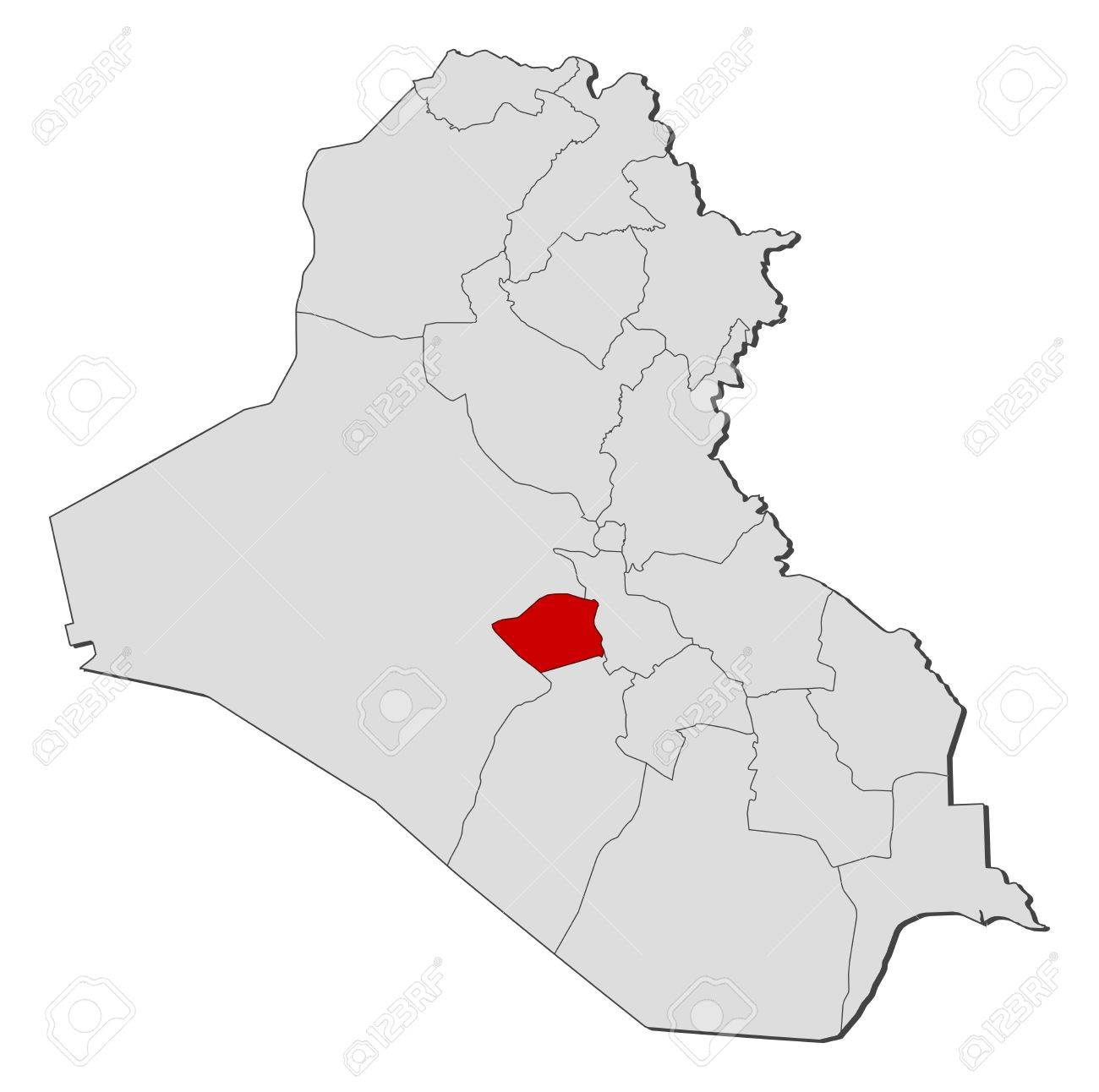 Political map of Iraq with the several governorates where Karbala