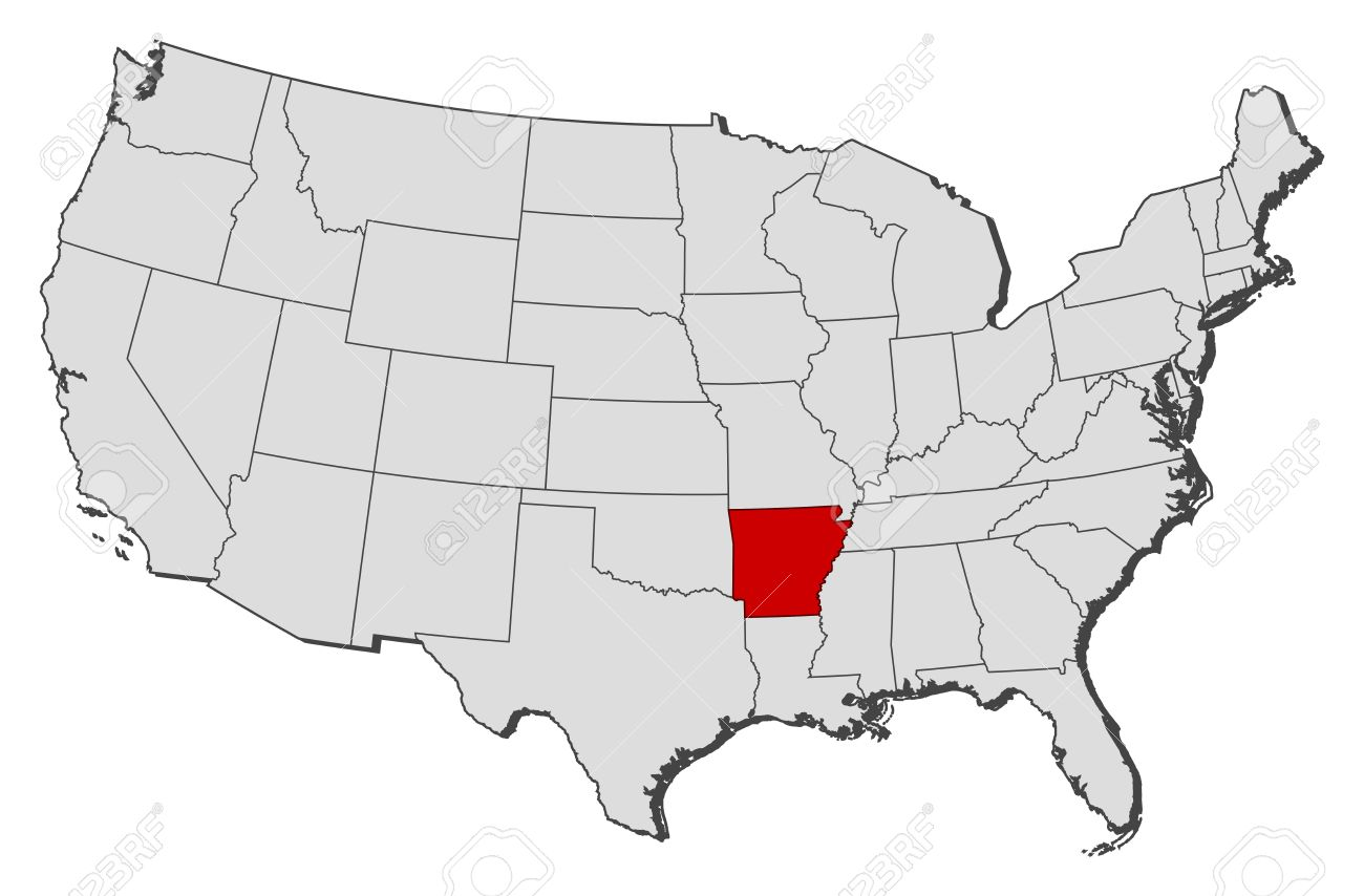 Political Map Of United States With The Several States Where - United states map arkansas
