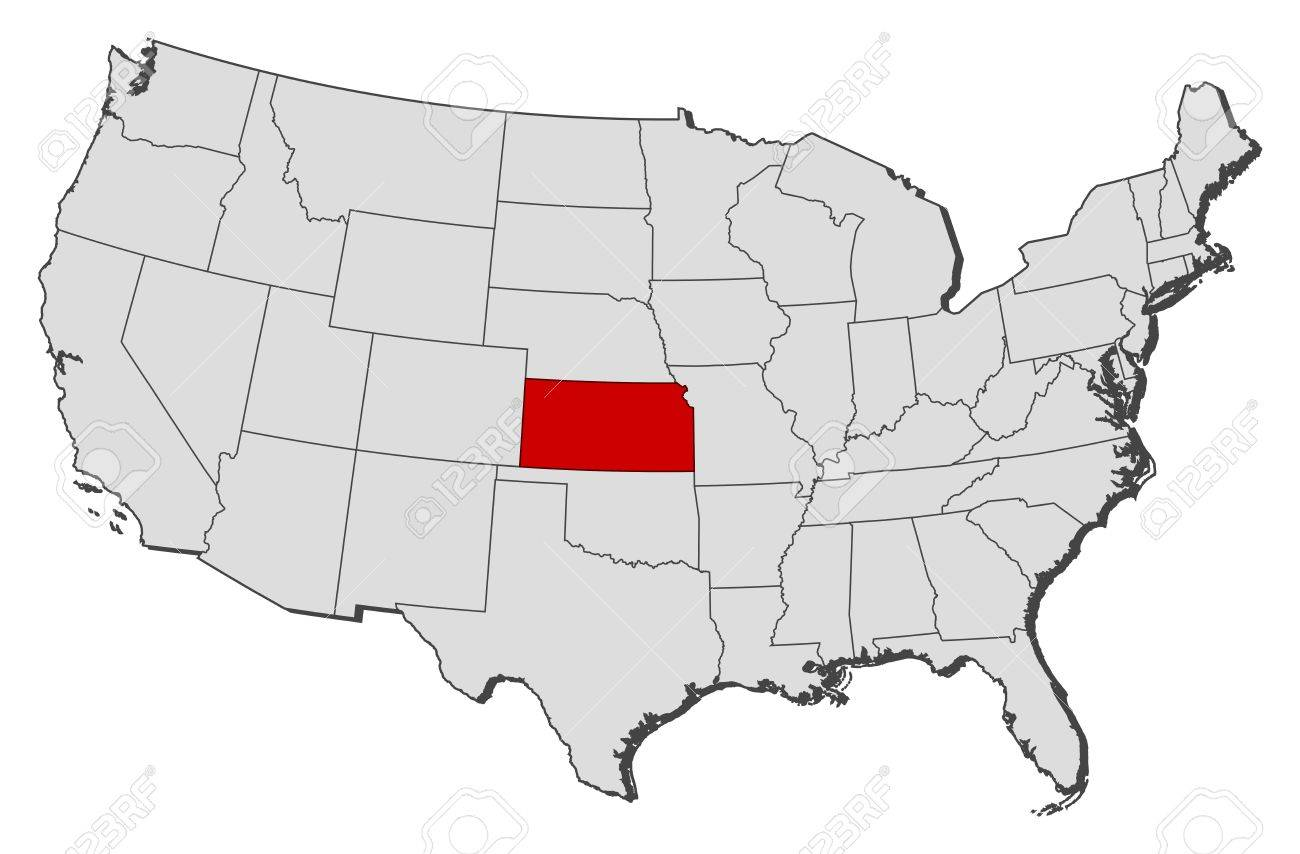Political Map Of United States With The Several States Where - Kansas us map