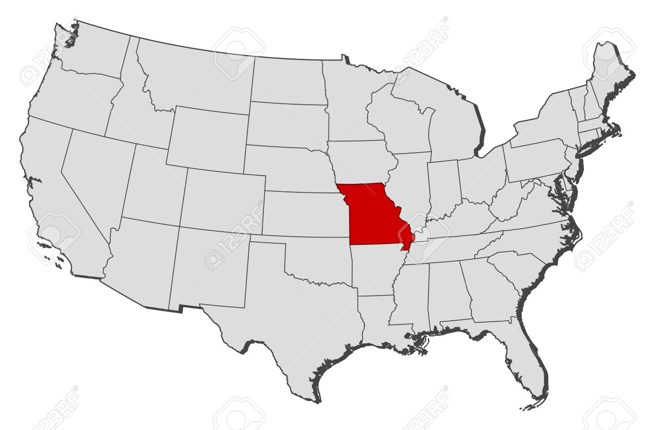 Political Map Of United States With The Several States Where - Us map missouri