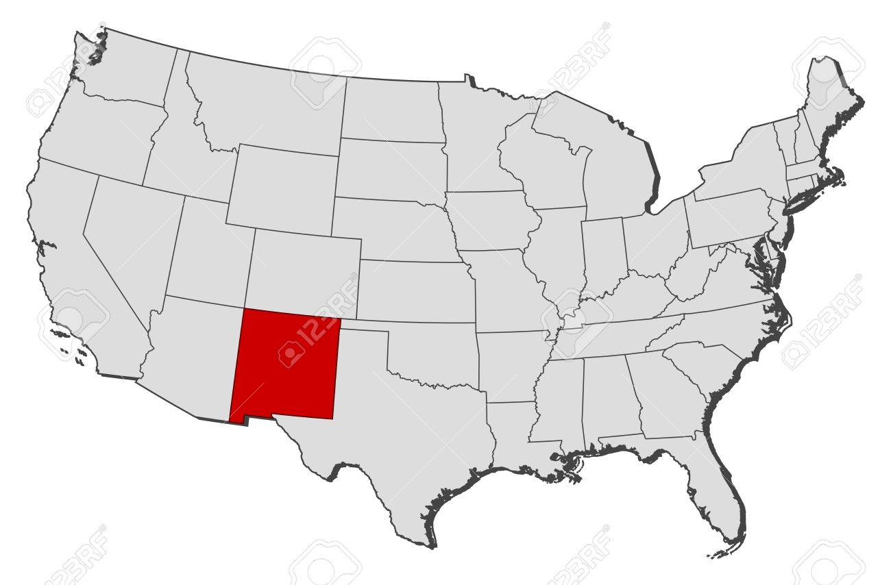 Political Map Of United States With The Several States Where - Us map new mexico