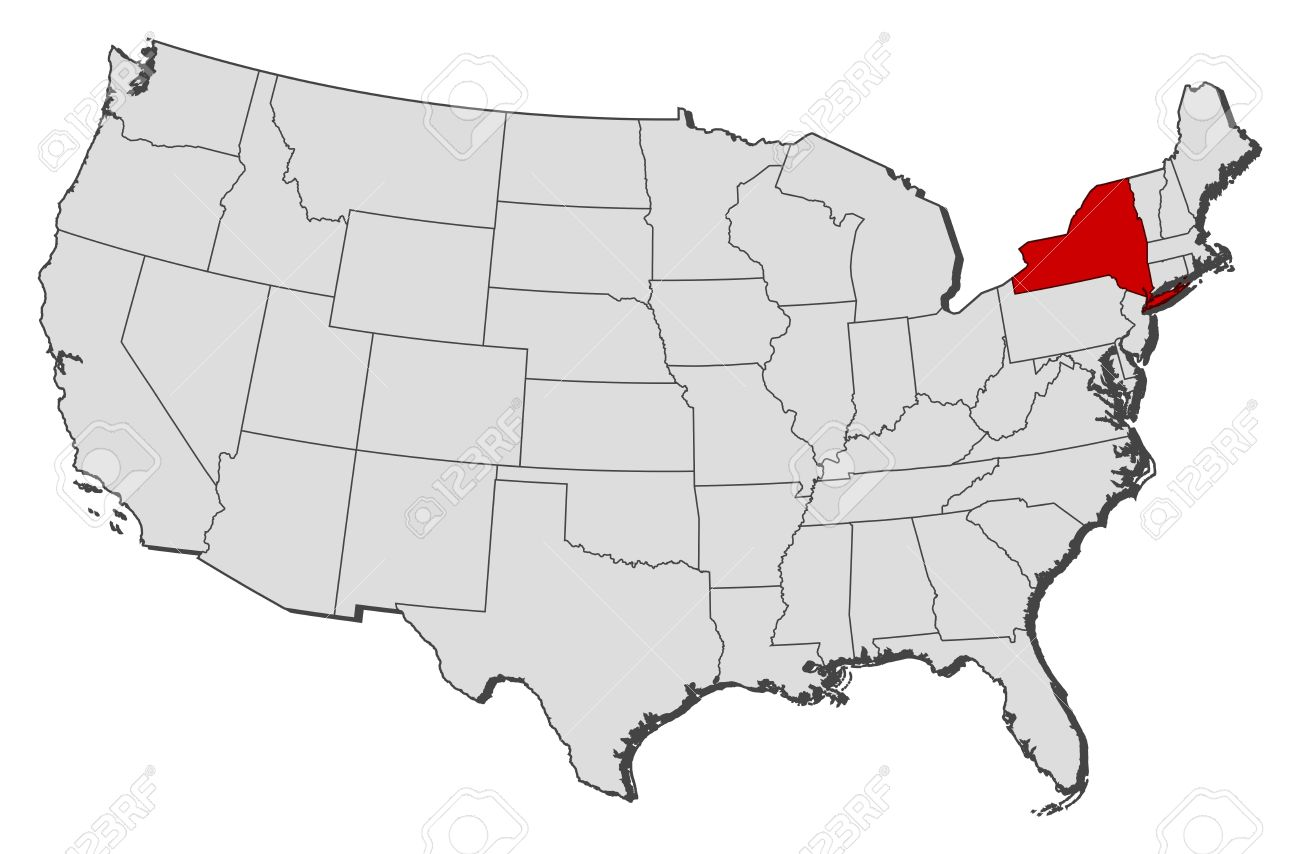 Political Map Of United States With The Several States Where - New york on map of us