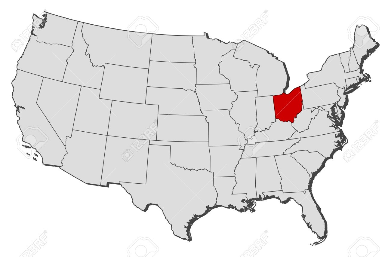 ohio on a map of the united states Political Map Of United States With The Several States Where
