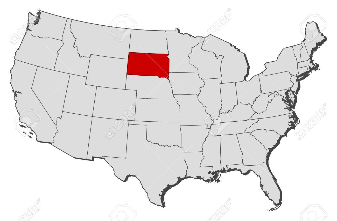Political Map Of United States With The Several States Where - Us map with south dakota