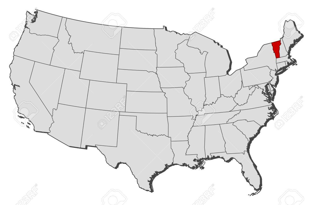 Political Map Of United States With The Several States Where - Vermont political map