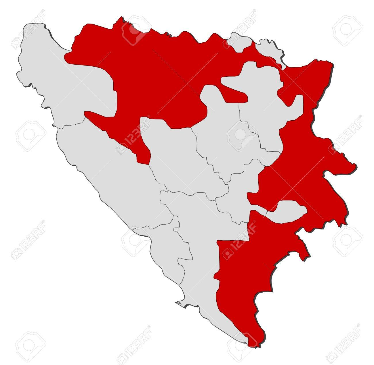 Political Map Of Bosnia And Herzegovina With The Several Cantons ...