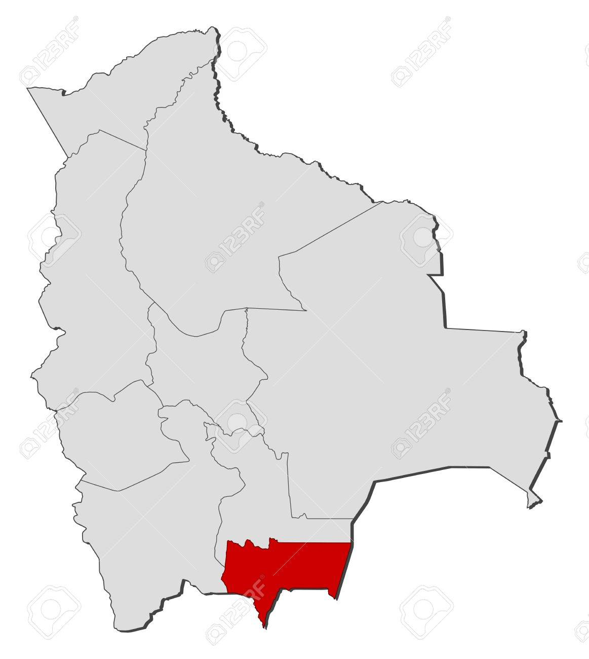 Political Map Of Bolivia With The Several Departments Where Tarija