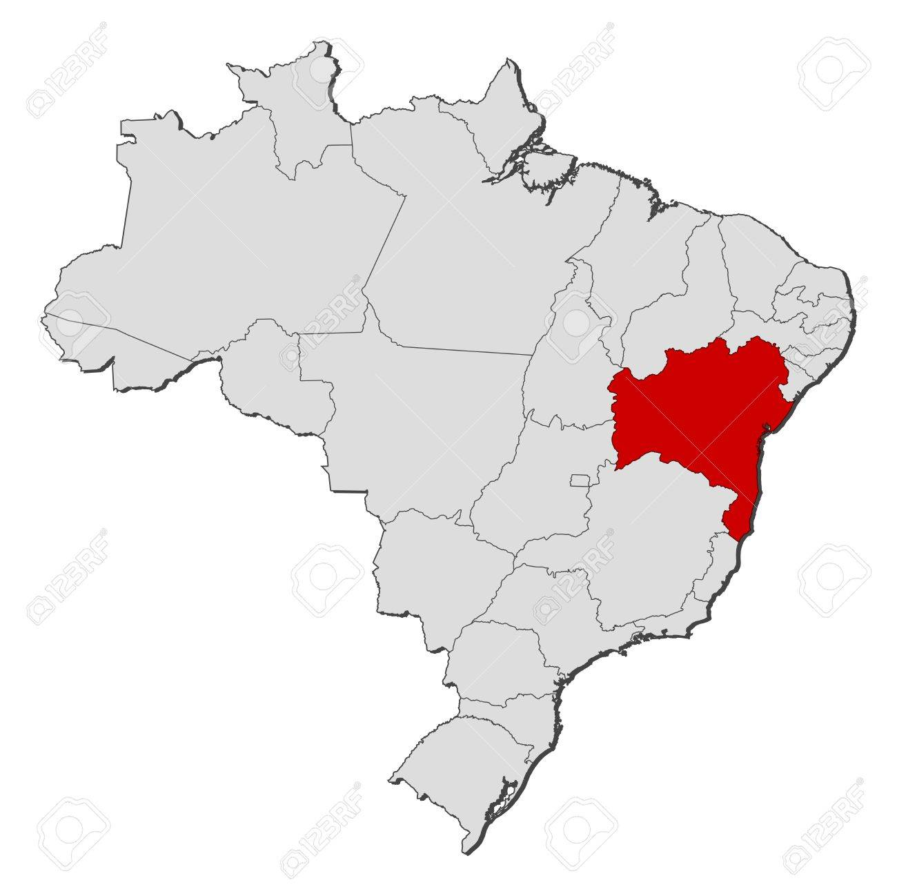 Political Map Of Brazil With The Several States Where Bahia Is - Political map of brazil