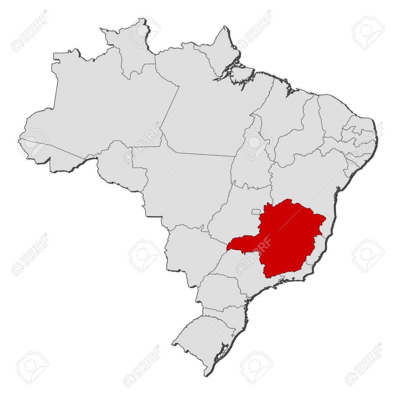 Political Map Of Brazil With The Several States Where Minas Gerais - Brazil states map
