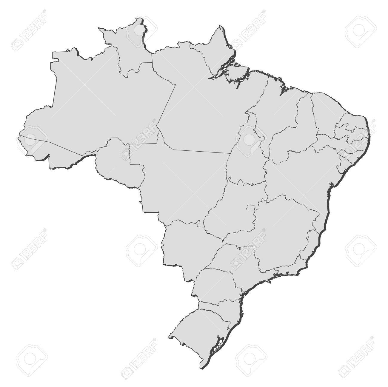 Political Simple Map Of Brazil Cropped Outside Brazil Regions - Brazil states map