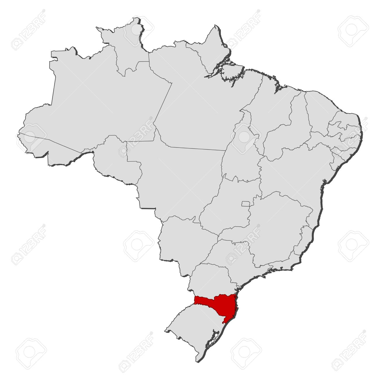 Political Map Of Brazil With The Several States Where Santa - Political map of brazil