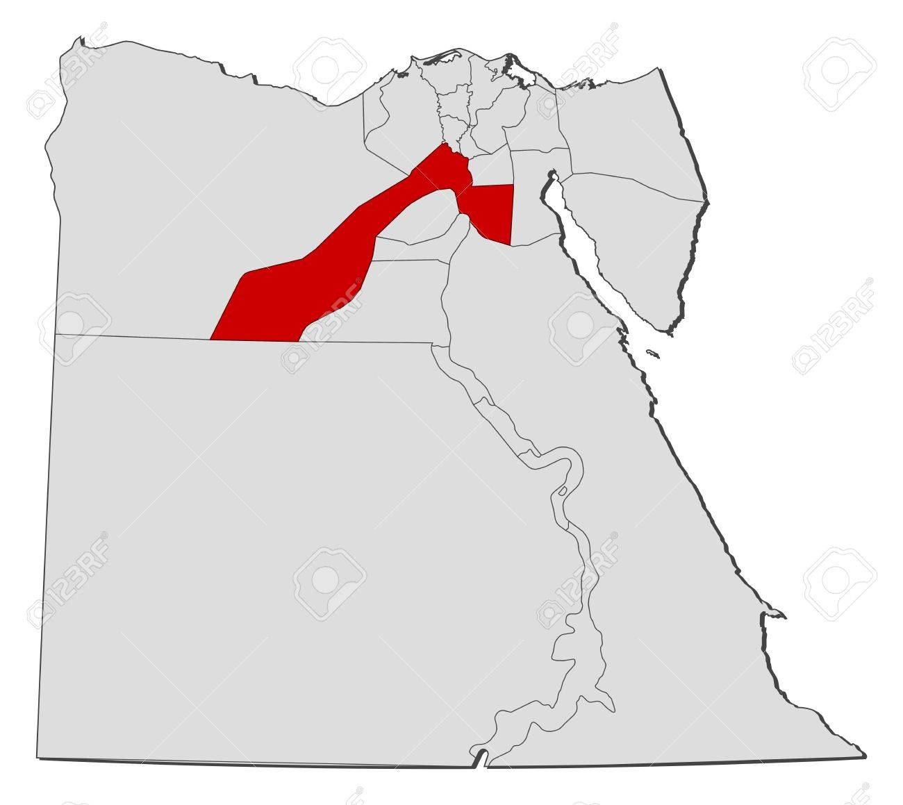 Political Map Of Egypt With The Several Governorates Where Giza - Map of egypt vector