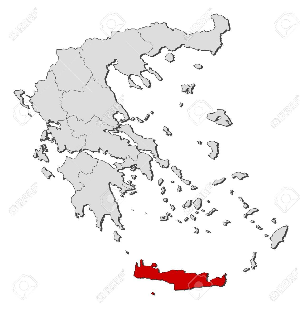 Political Map Of Greece With The Several States Where Crete Is