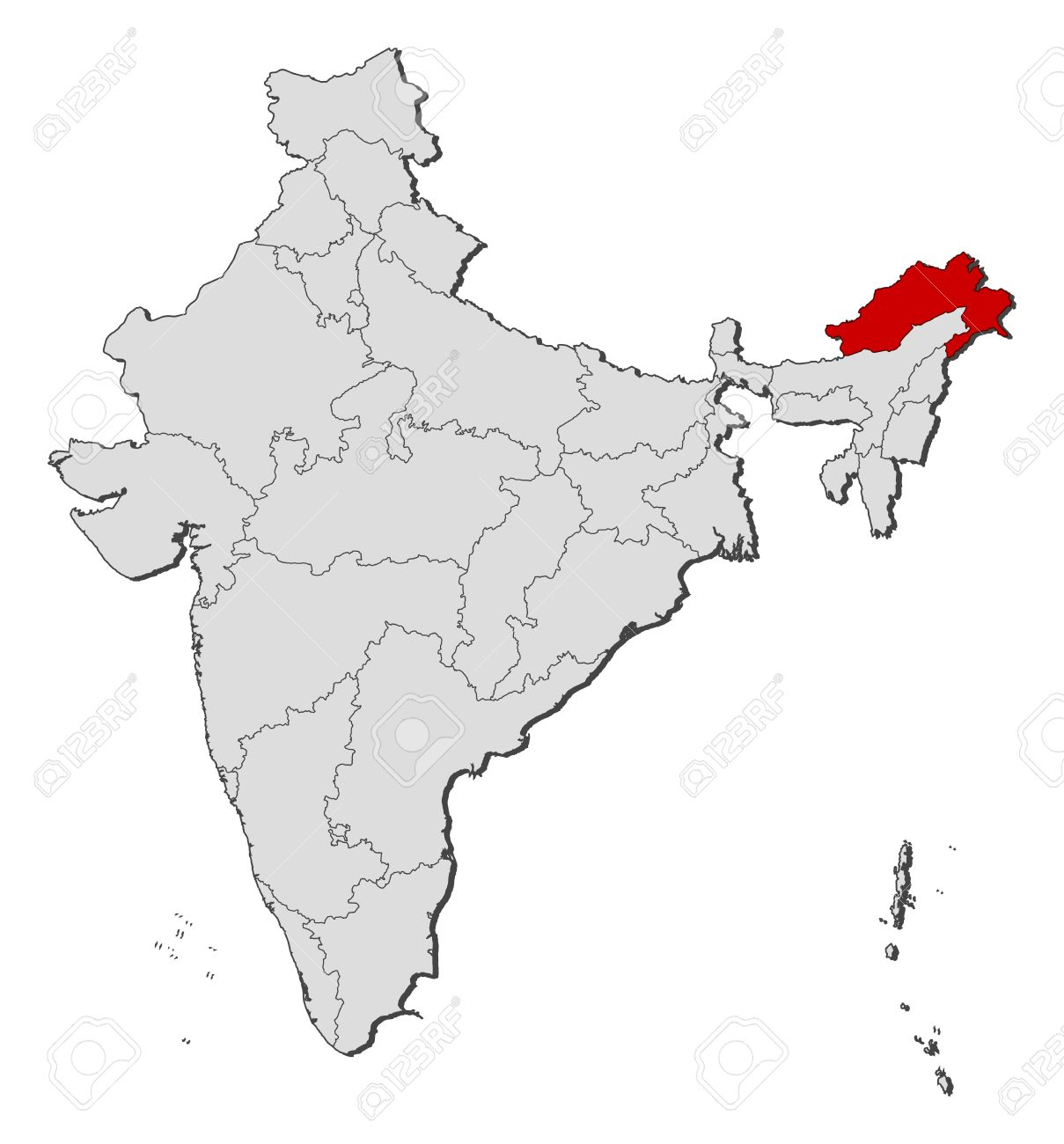 Map Of India Political.Political Map Of India With The Several States Where Arunachal