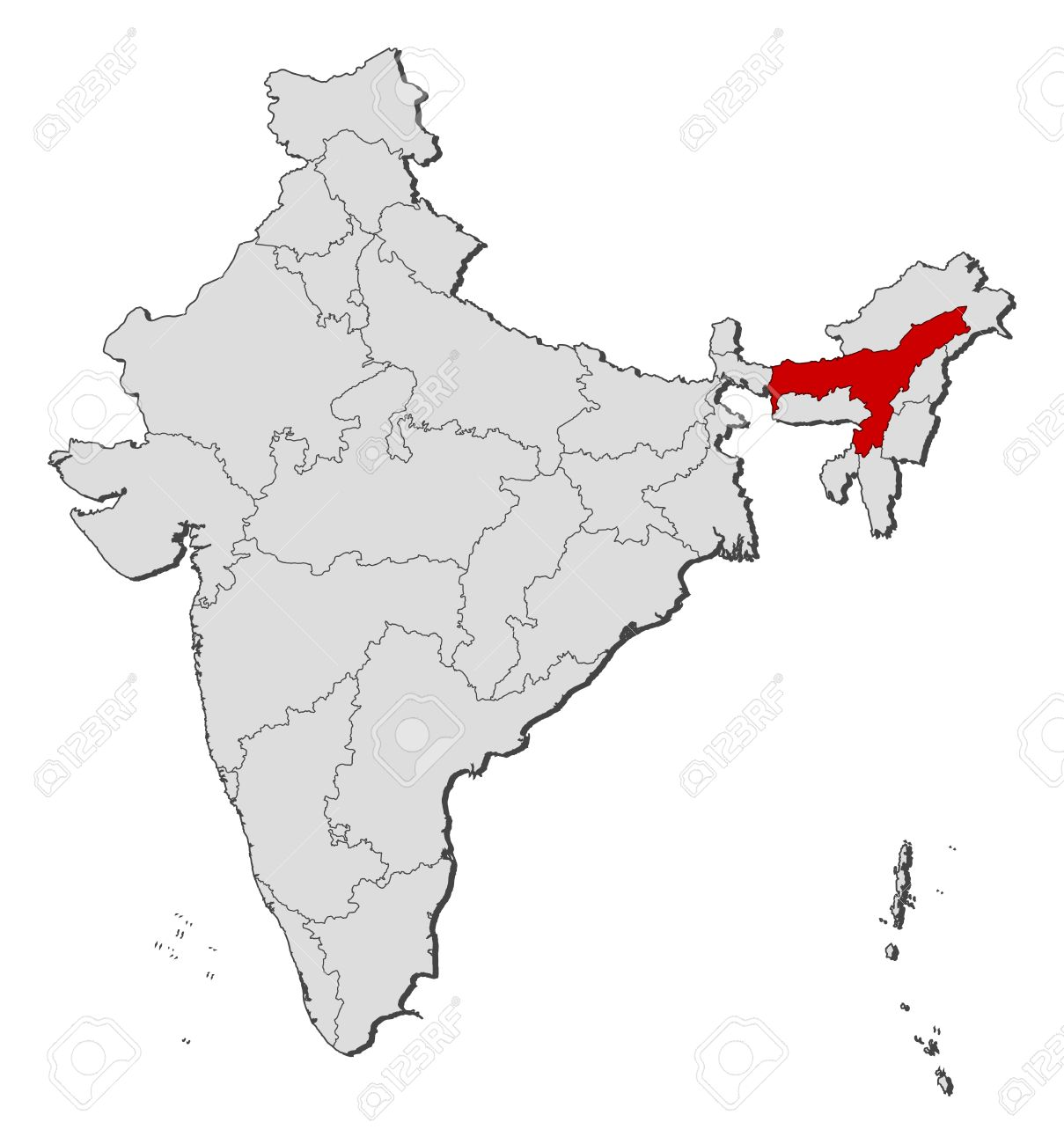 Political Map Of India With The Several States Where Assam Is
