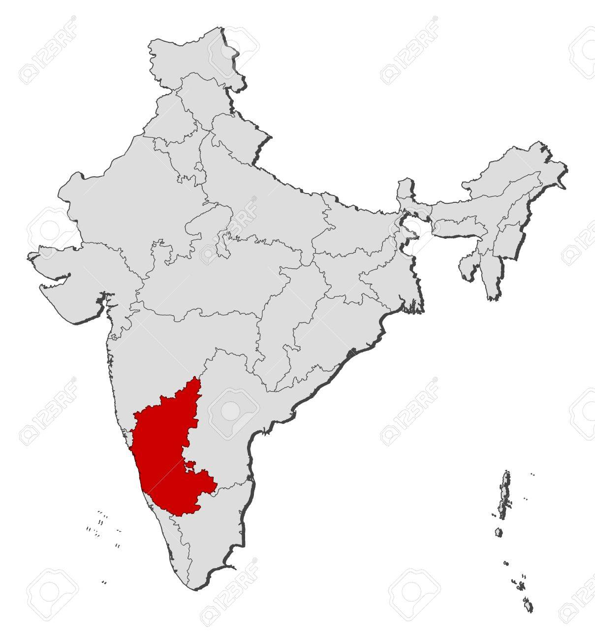 Political Map Of India With The Several States Where Karnataka ...