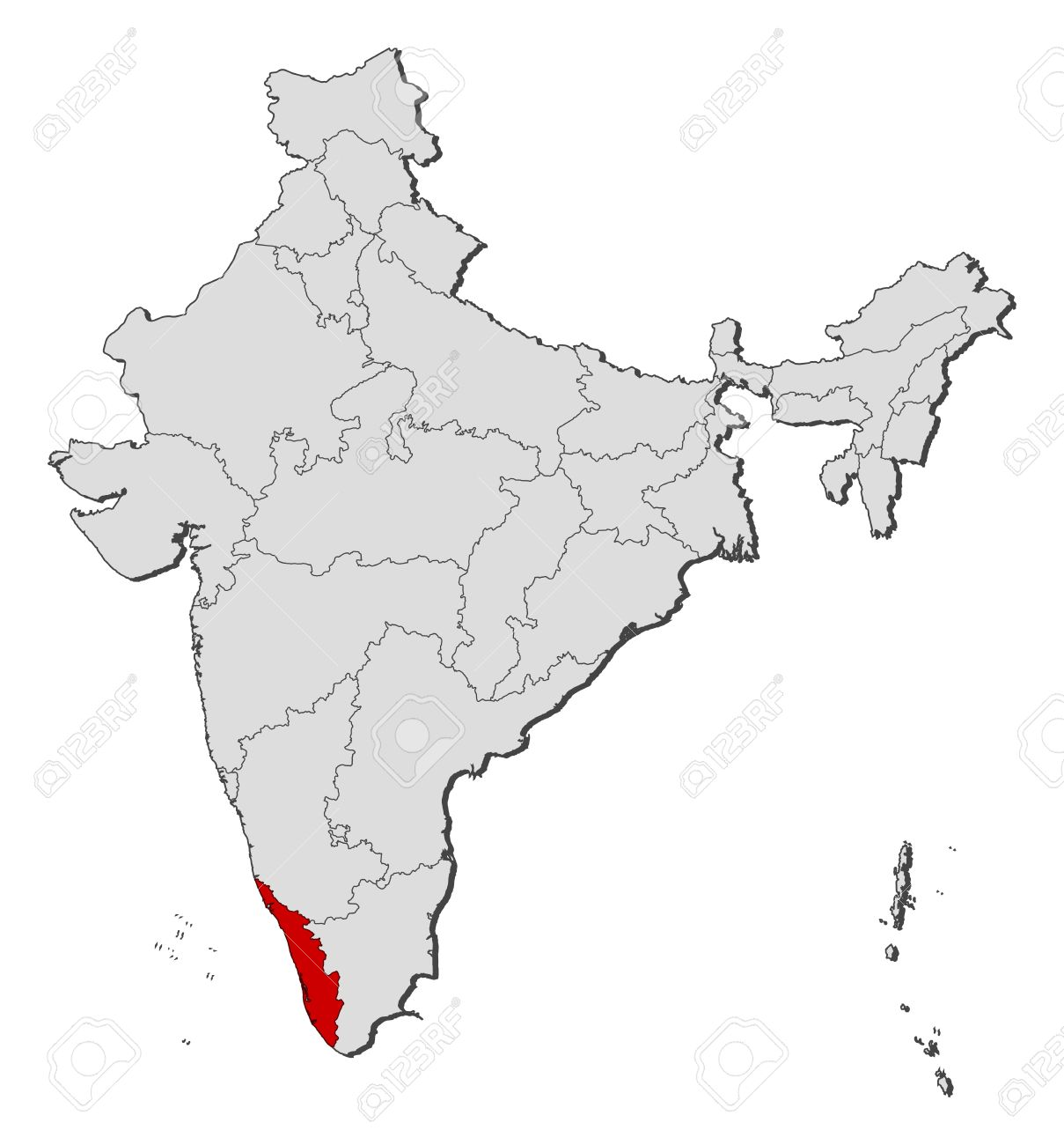 Political Map Of India With The Several States Where Kerala Is